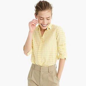 J Crew White Yellow Seersucker Button Down Shirt